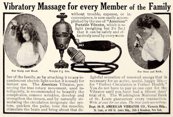 Annonce de vibrateur vintage de 1906 proclamant